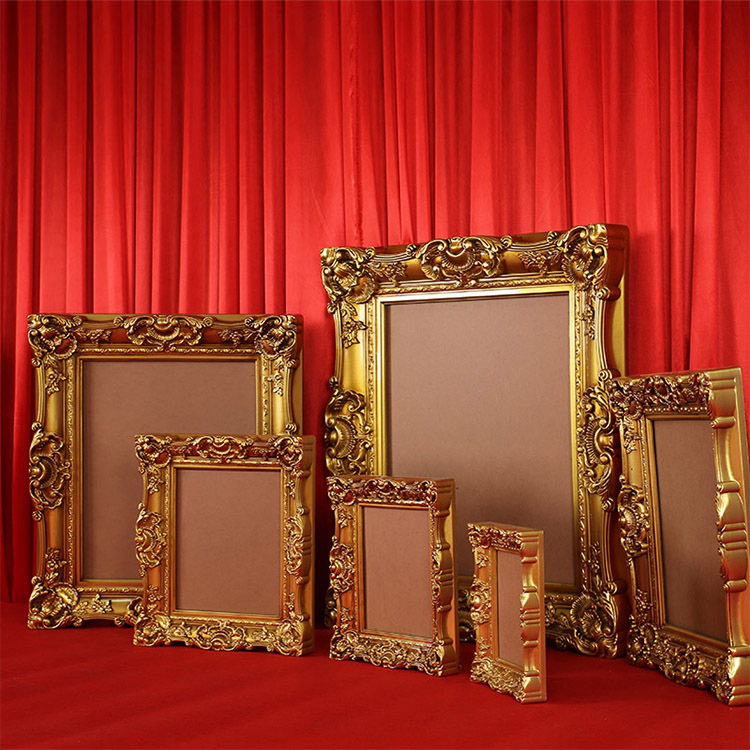 Cadre photo sculpté en or antique cadre photo décoration de mariage décoration murale cadre de peinture à l'huile de mariage européen