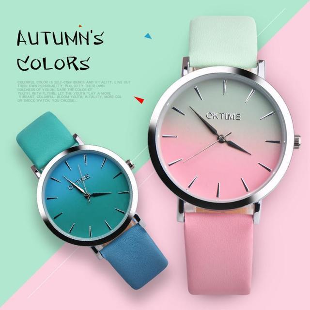 12 Colors WOK13402 OKTIME Ladies Watches Retro Rainbow Design Belt Analog Alloy