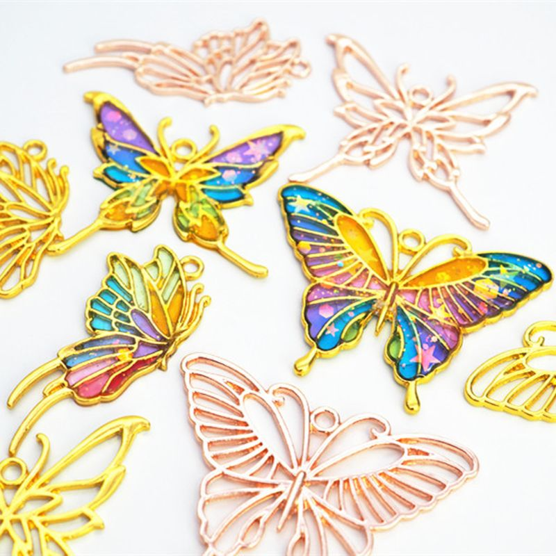 3Pcs Gold Butterfly Metal Frame Pendant Open Bezel Setting UV Resin DIY Jewelry Accessories