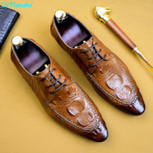 2019 New Mens Dress Shoes Genuine Leather For Man Formal Business Crocodile Pattern Oxford Flats Pointed Toe US 11.5 mycolen new business dress men formal shoes wedding crocodile pattern pointed toe genuine leather flats oxford shoes for men