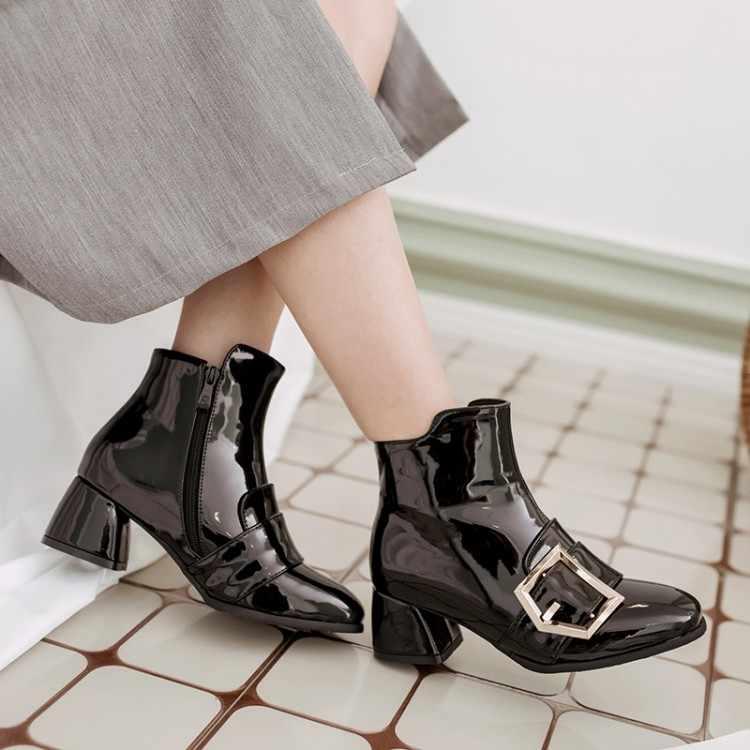 Большие размеры 11, 12, 13, 14, 15, 16, металлическая пряжка с квадратным носком на толстом каблуке, модные ботинки с декоративной короткой молнией сбоку