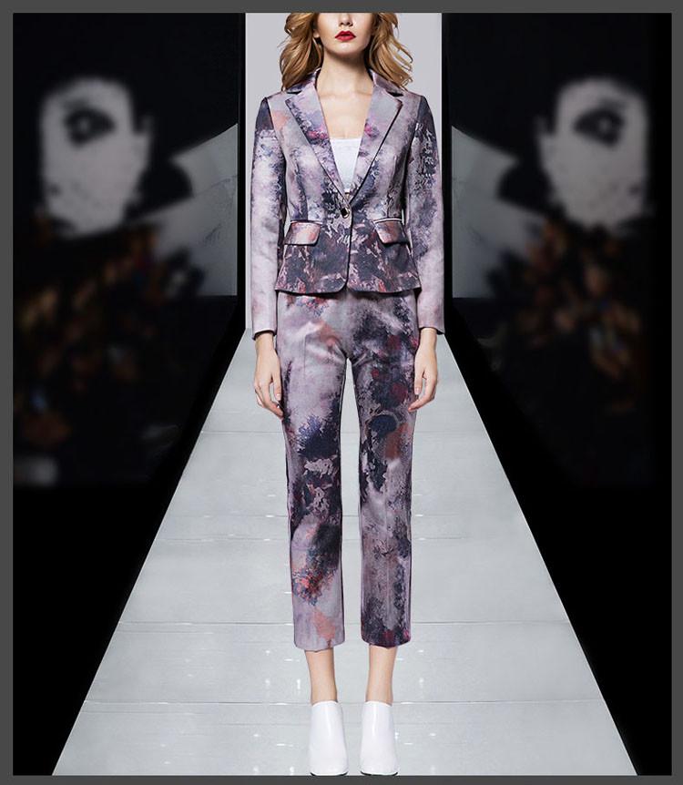Print Women Business Suit Purple Color Pants Set 2017 06