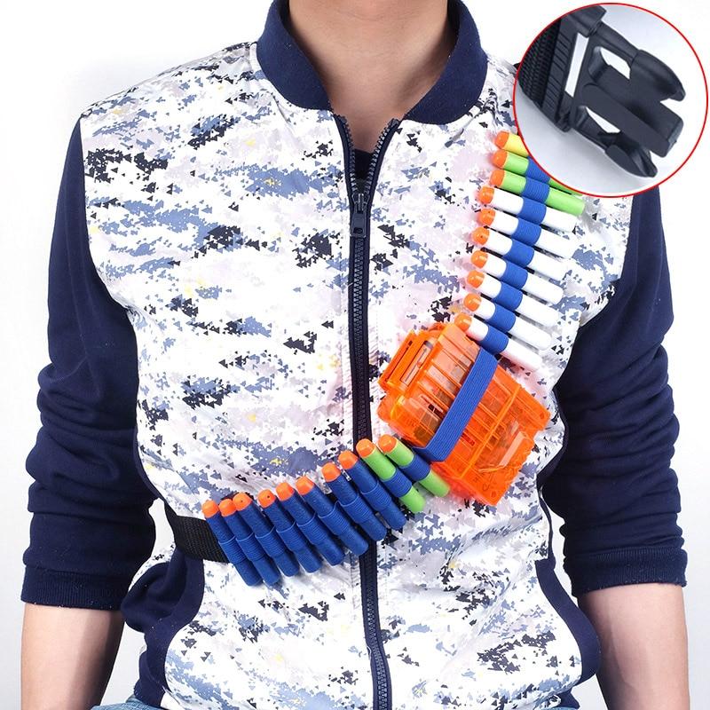 PVC Soft Bullets Belt Shoulder Strap Clip Charger Ammo Storage Bullets For Nerf Gun Accessories N-strike Elite Series Gun Toy