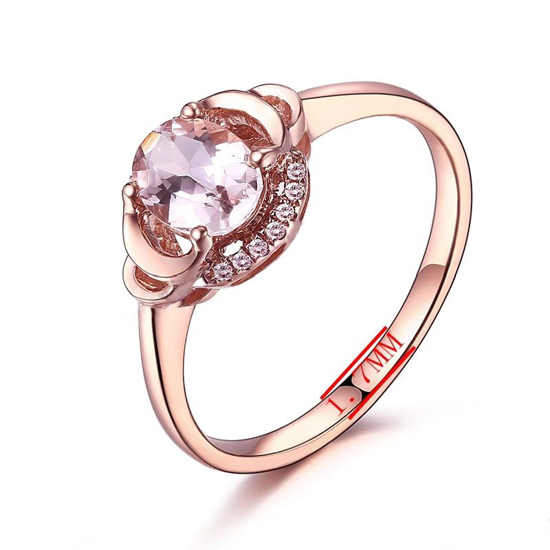 HELON Fine Jewelry Solid 10K Rose Gold Oval 7x5mm Pink Morganite Pave Natural Diamonds Ring Engagement  Wedding Gemstone Ring