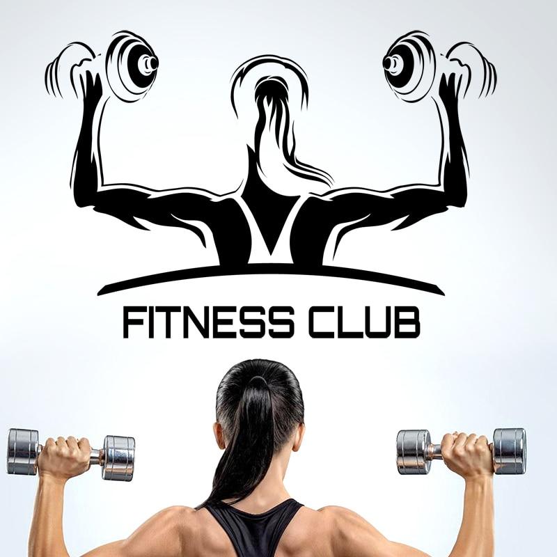 Crossfit Fitness Club Gym Logo Sport Barbell Workout Motivation Muscle Training Custom Room Vinyl Sticker Mural Decal Art Decor GF686