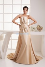 free shipping 2014 new design fashion small train handmade bow bride married long custom size/color champagne Bridesmaid Dress