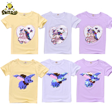 Girls t shirt Magic Glitter Reverse sequin top Cartoon elephant unicorn Short Sleeve toddler girl 4 8 10 Year