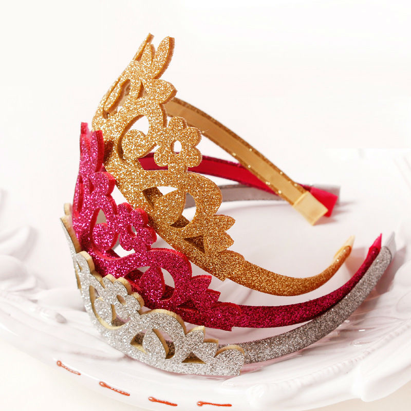 #50907 Korean Fashion Princess Crown Headband For Girls Party Use Tiara Band Rose Red Silver Gold Flash Wreath Flowers Hairband