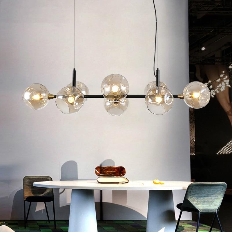 Işıklar ve Aydınlatma'ten Kolye ışıkları'de Iskandinav LED kolye ışıkları E14 konyak cam uzun kolye lamba yemek odası için mutfak ev Deco asılı fikstür AC90V 260 V title=