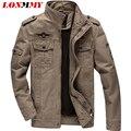 LONMMY М-6XL 2016 куртка мужская бомбардировщик куртка мужчины повседневная армия стиль пальто мужские Air Force One куртка армии пальто Хлопка 2016