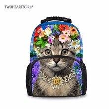 TWOHEARTSGIRL Печати Кошка Рюкзак для Женщин с Цветок Жгут Подросток Девушки Путешествия Backbag Колледжа Девушки Школы Bagpack