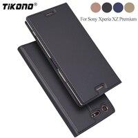 TIKONO Leather Flip Case For Sony Xperia XZ Premium Case XZP Protective Wallet Book Cover For