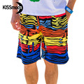 KISSmoon Quick-drying Water-drop River paisley colorful Orange Yellow Red Blue trunks Couple Men board shorts KBS1106