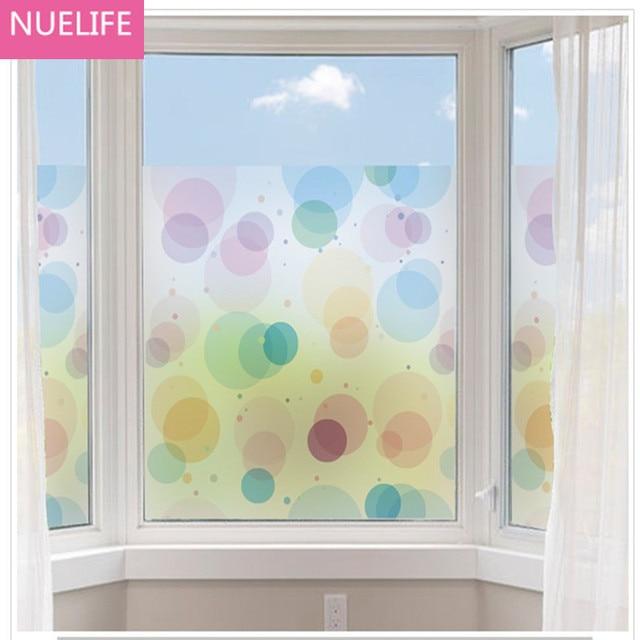 X Cm PVC Cercles Colorés Motif Fenêtre Autocollants Opaque - Fenetre salle de bain pvc