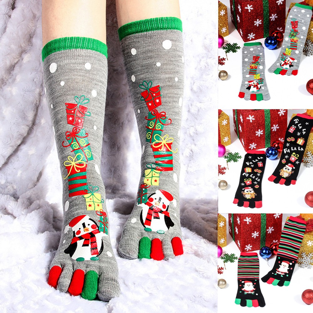 BKLD 2019 New Fashion Women Funny Cartoon Printed Toe Socks Cotton Five Fingers Socks Casual Soft Socks Women Christmas Sock