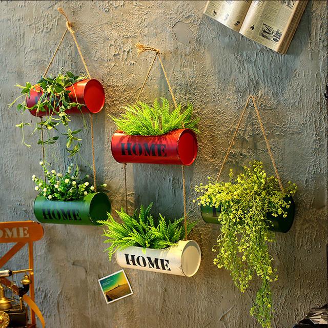 Creative Hemp Hanging Iron Flower Pots
