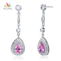 Peacock Star 1.5 Carat Pear Cut Pink Solid 925 Sterling Silver Dangle Bridal Wedding Earrings Jewelry CFE8057