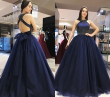 Navy Blue A Line Tulle Prom Dress Halter Criss Cross Straps Back Beaded Floor Length Prom Gowns Evening Dress vestidos de noiva white suede criss cross back mini slip dress