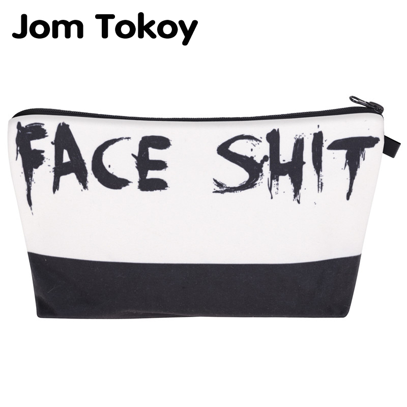 Jom Tokoy  cosmetic organizer bag Face Shit 3D Printing Cosmetic Bag Fashion Women Brand makeup bag