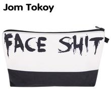 Jom Tokoy 2018 kosmetyczka Organizator torba twarz shit 3D Printing kosmetyczka moda damska Marka makijaż torba tanie tanio Futerały kosmetyczne Zamek 13 5 cm Literę hzb876 18-22cm Poduszkę Poliester 100 poliester Casual