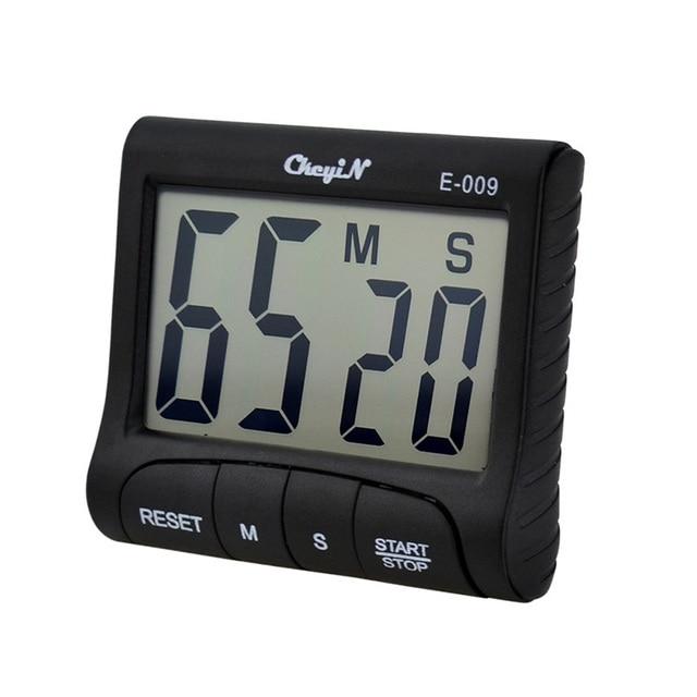 Large LCD 4 Digits Display Digital Kitchen Alarm Count Clock Up Down Timer - Black P46