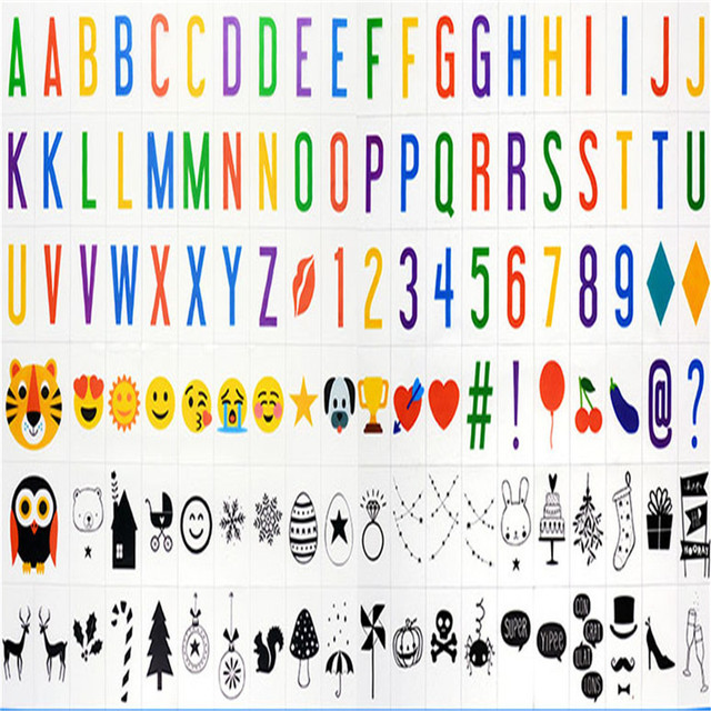 New A4 Size Light Box Colorful Letter Symbols Numbers Emoji 118cards