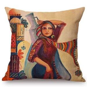 Image 2 - İslami resim sanat arap kadın taşıma levha müslüman ev dekorasyon kanepe atmak yastık kılıfı akdeniz tarzı minder örtüsü