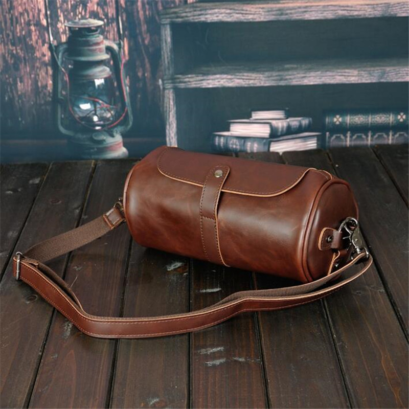 New High Quality Vintage Casual Crazy Horse Leather Men Bag Small Round Messenger Bags For Man Personality Design Travel Bag niuboa new casual leather shoulder bags genuine leather men chest bag high quality retro crazy horse small messenger bag for man