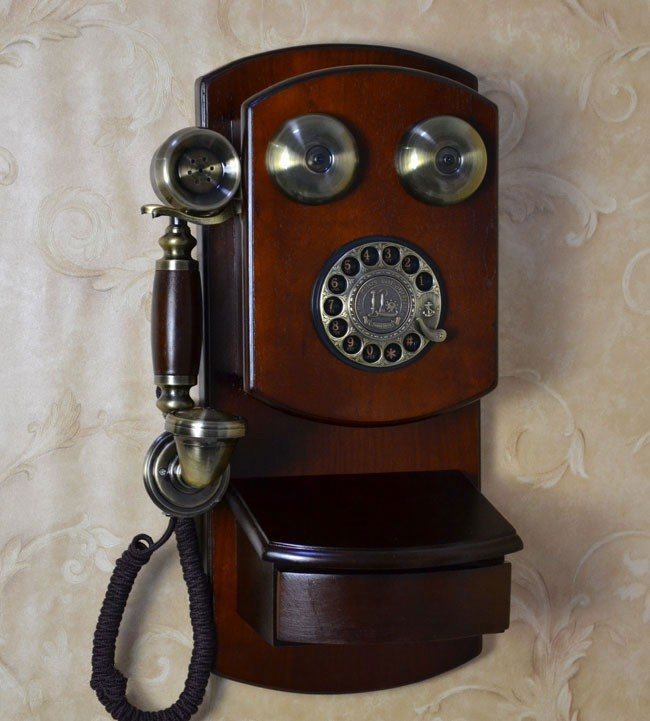 Antique Wood Telephone Wall Mounted Telephone Vintage