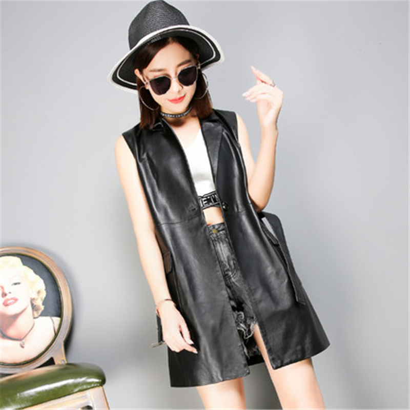 Real Leather Vests Black Long Clothing Custom Sleeveles Made Apparel Womens Concealed Carry Gilet Warm Aumutn Sale Vest Top
