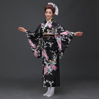 black Vintage Japanese Ladies Kimono Bath Gown Women's Faux Silk Yukata With Obi Performance Dance Dress Cosplay Clothing H0029