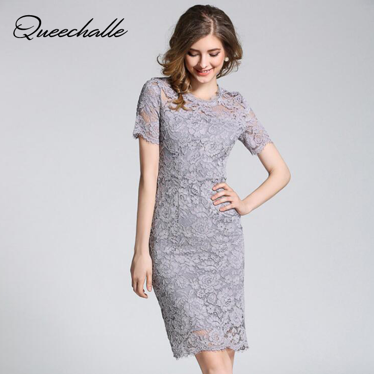 Queechalle Gray Black Red White elegant lace dress Summer Women s hollow out short sleeve bodycon