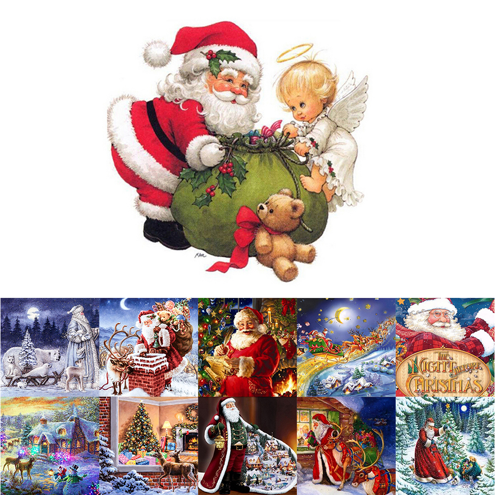 5D Diy Diamond Christmas flip Chart Painting New Year Cross Stitch Full Embroidery Mosaic Landscape Winter Scenery Pattern diy beads painting flower cross stitch wall decoration