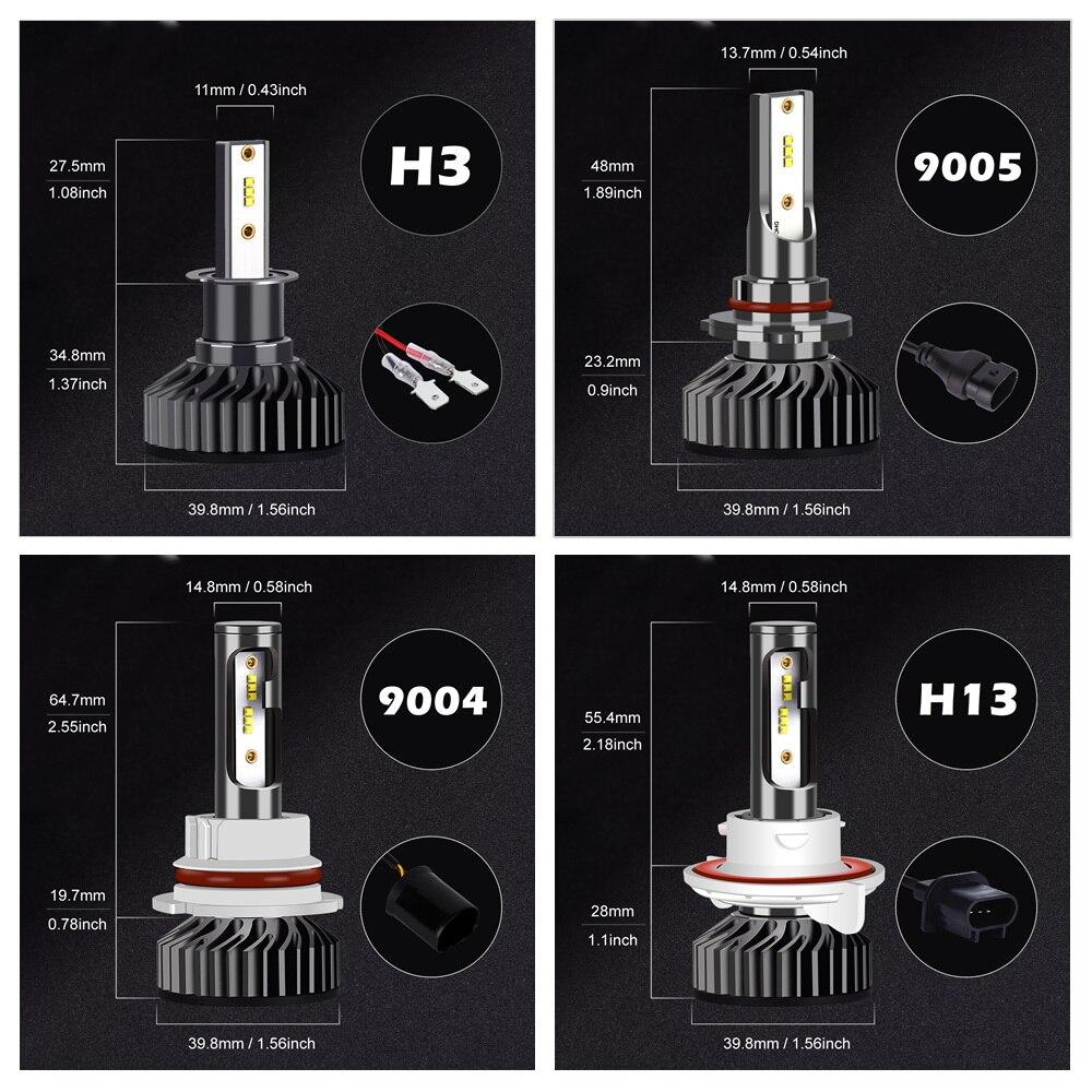 H4 светодиодный головной светильник лампочка H7 светодиодный H1 H3 H8 H11 9005 HB3 9006 HB4 9004 9007 с зэс чипы 12000LM 6500K 12V Автомобильная Противо-Туманная светильник автомобильных ламп