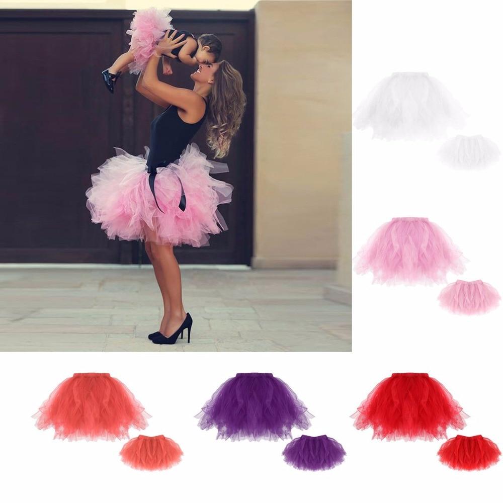 Mother Daughter Women Girls Tutu Skirts Mini Ballet Princess Fancy Family Dress telle mère telle fille vetement