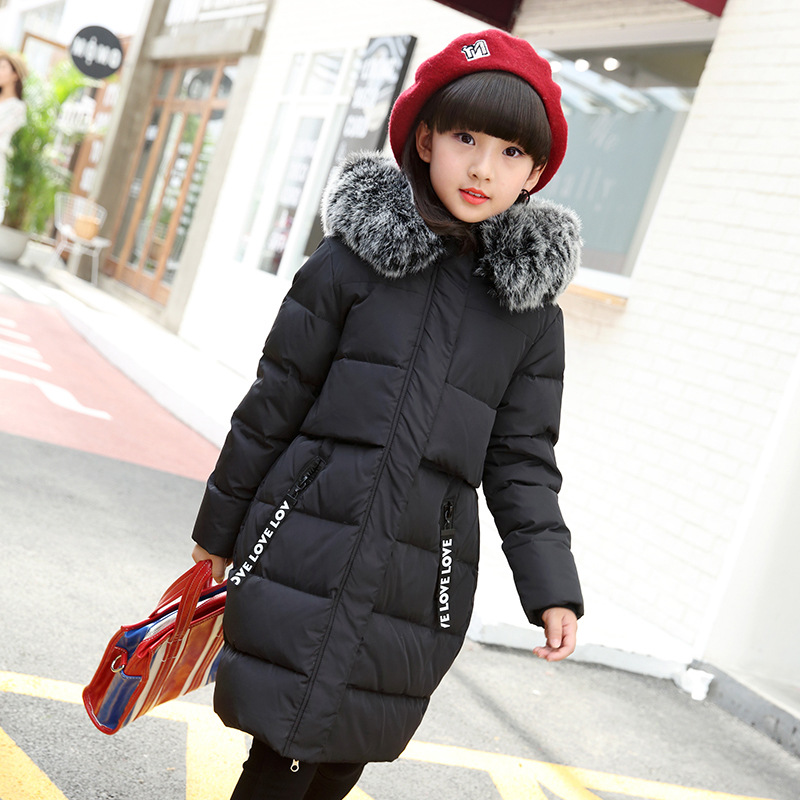 The Children Down The Child 2017 New Girls In The Long Winter In The Thick Big Fur Collar Korean Children Thickening children s 2017 winter new children s down jacket big girls in the korean version of the girls down jacket long thick coat