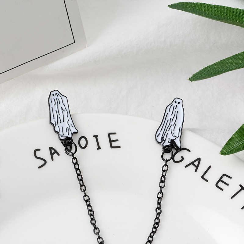 Sok z żuka nie ma stóp Pin duch broszki Lapel Pins Halloween biżuteria gotycka biżuteria dla mężczyzn dla kobiet Unisex
