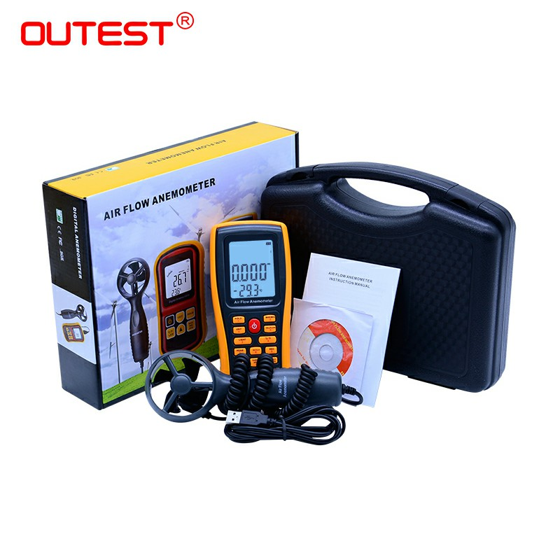 GM8902 0-45M/S Digital Anemometer Wind Speed Meter Air Volume Ambient Temperature Tester With USB Interface with carry box цена