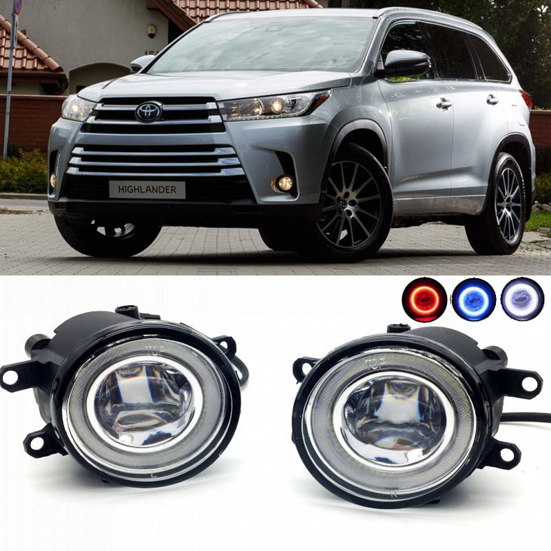 2 in 1 LED Cut-Line Lens Fog Lights Lamp 3 Colors Angel Eyes DRL Daytime Running Lights for Toyota Highlander Kluger 2017 2018 car styling 2 in 1 led angel eyes drl daytime running lights cut line lens fog lamp for land rover freelander lr2 2007 2014
