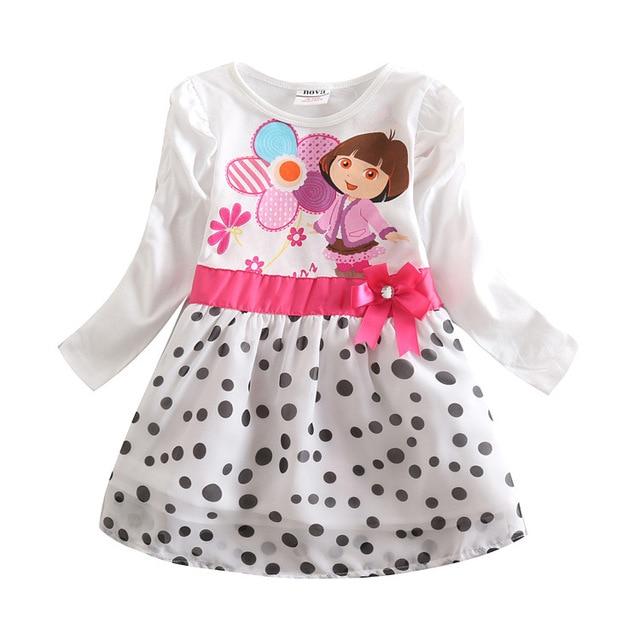 Kid Dresses For Children Girls 2016 New Dora White Kids Wearbaby Up Vestidos Infantis De Birthday Clothes Long Sleeve