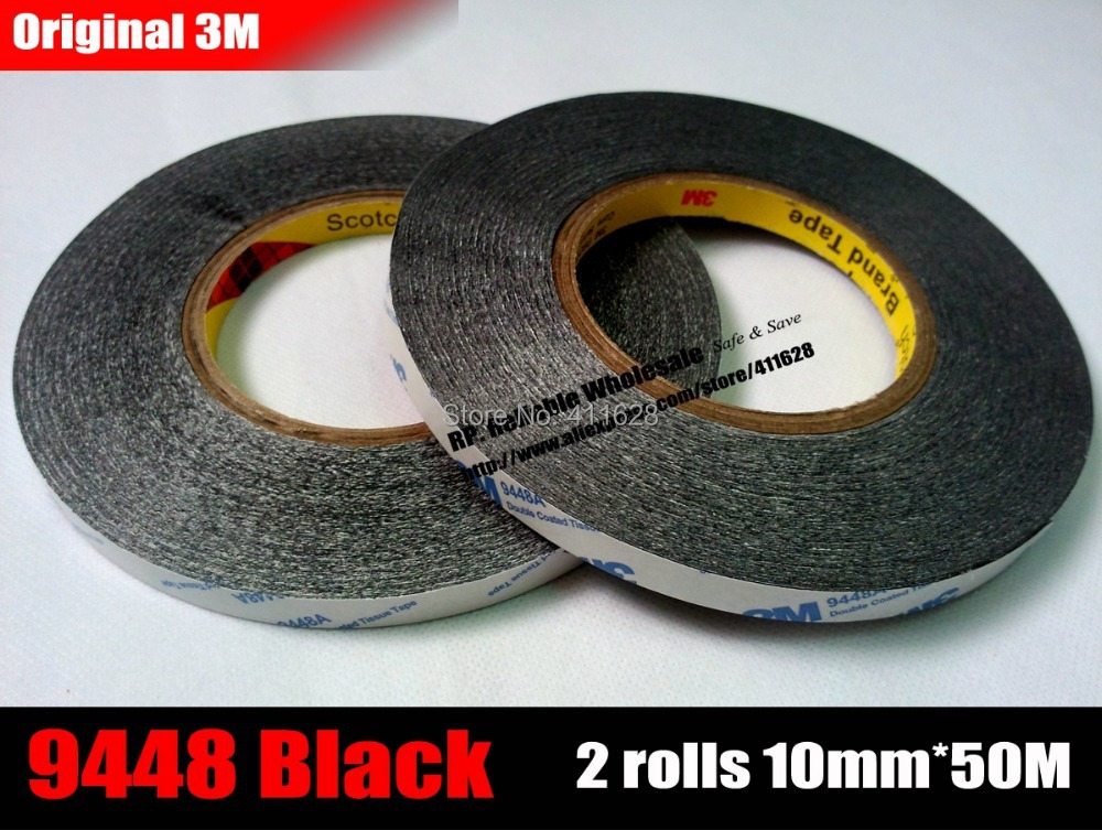 2x (10mm Width * 50 meters) 3M 9448AB Black Double Adhesive Strip Tape for ipad Phone Tablet Pad LCD Screen Panel Edge Mount Fix kitmmm5910121296unv20630 value kit highland transparent tape mmm5910121296 and universal perforated edge writing pad unv20630