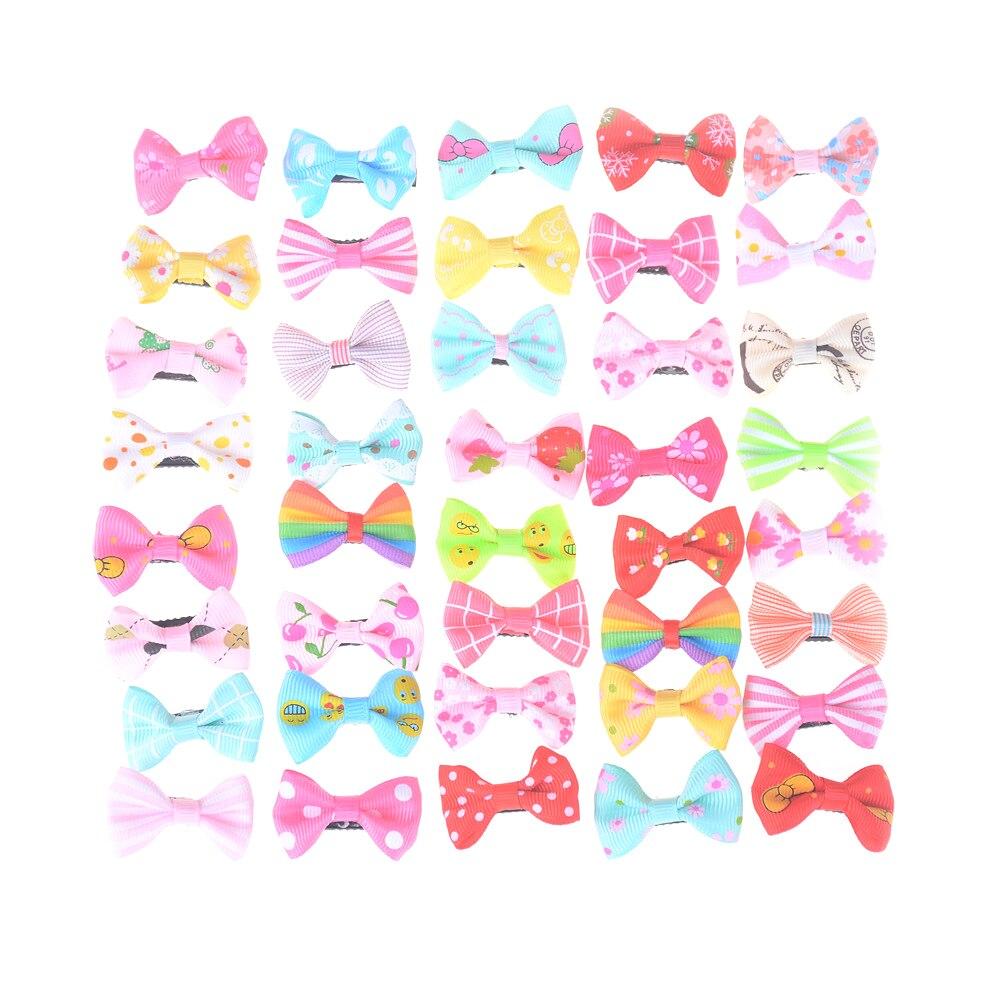10Pcs Little Bow Solid Ribbon Bows Babies Fine Wispy Hair Mini Wisp Clip Newborn Small Hair Clip Infant Hairbows Hairpin