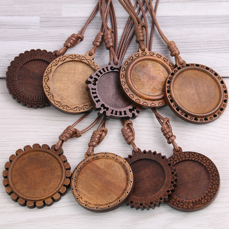 5pcs Wood Cabochon Settings 25mm 30mm Inner Size Blank Cameo Pendant Base Trays With Leather Cord For Jewelry Making 8D