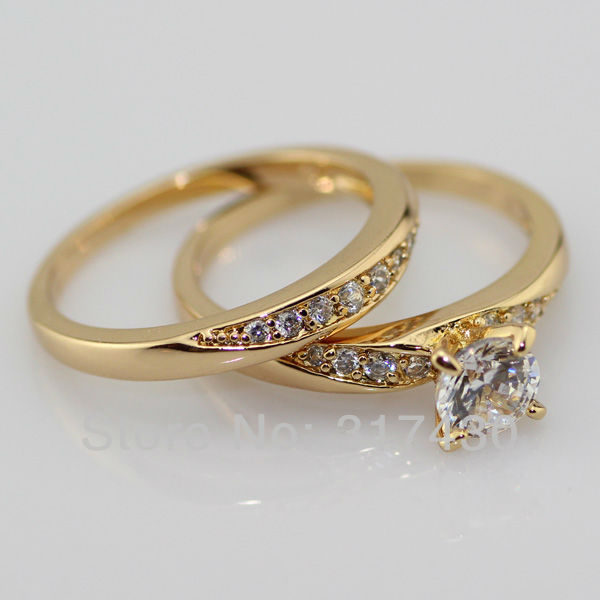 Lovers Rings 18K 24ct Yellow gold Filled Clear crystal promise