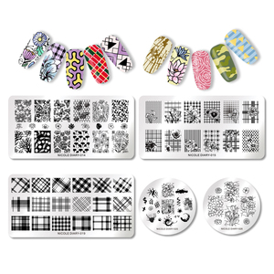 Image 5 - NICOLE DIARY Valentines Day Nail Stamp Plate Rectangle Nail Art Stamping Image Template DIY Nail Plate Geometric Print Stencil