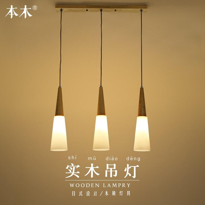Japanese Led Simple Living Room Lights 3 Tatami Wood Pendant Light Restaurant Dining Room Hanging Lamp Kitchen Dining Bar