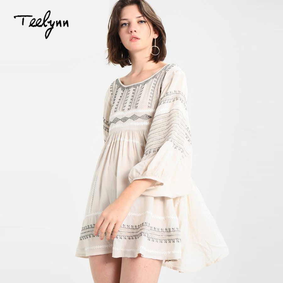 TEELYNN <font><b>Boho</b></font> mini <font><b>dress</b></font> <font><b>2018</b></font> floral Embroidery puff sleeve loose <font><b>sexy</b></font> backless Casual <font><b>dresses</b></font> short a-line <font><b>women</b></font> <font><b>dress</b></font> vestido image