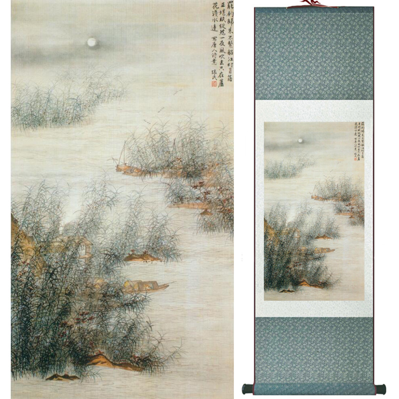Mountain and river painting Home Office Decoration Chinese scroll painting mountain and River painting LTW2017112602