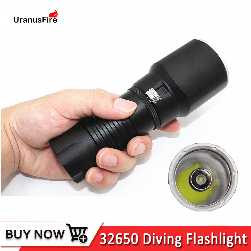 Underwater 100M Scuba Waterproof Diving Flashlight  XM-L2 LED White Light Power By 32650 Battery