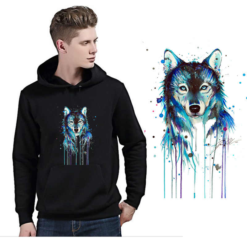Dark Animal Wolf Iron on Heat Transfer Printing Patches Stickers for Clothes T-shirt DIY Appliques Washable Patches Wholesale